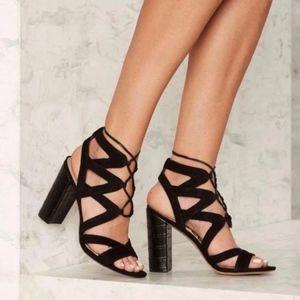 Sam Edelman Yardley Black Sandals Heels Lace Up 10